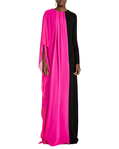Two-Tone Chiffon & Velvet Long-Sleeve Gown