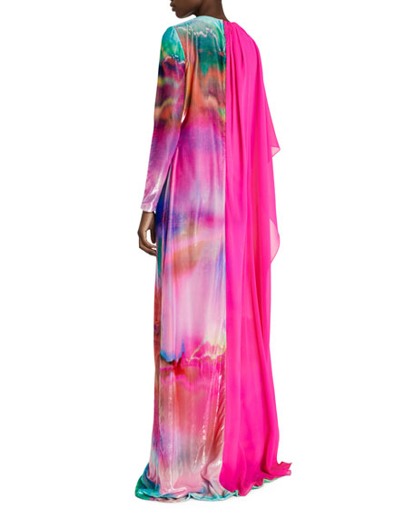 Chiffon & Degrade Velvet Long-Sleeve Gown