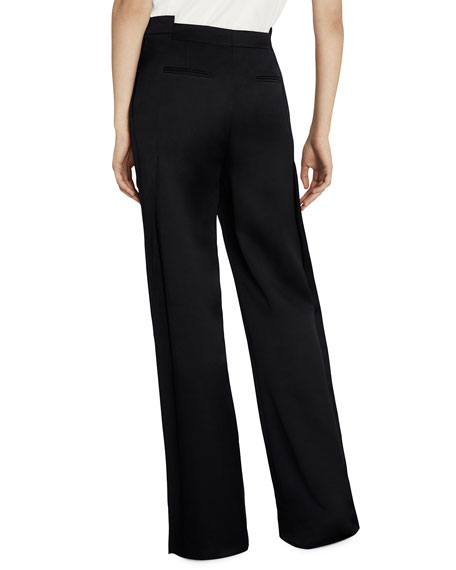 Geometric-Waist Wide-Leg Satin Pants