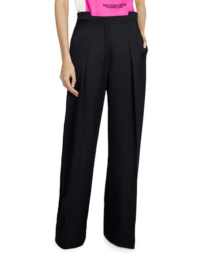 Geometric-Waist Wide-Leg Satin Pants