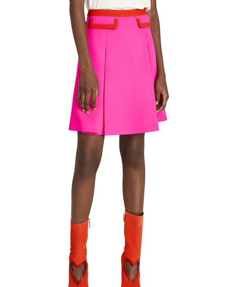 Shocking Pink Wool Mini Skirt