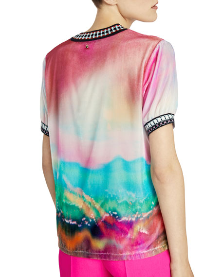 Degrade Velvet Short-Sleeve Top