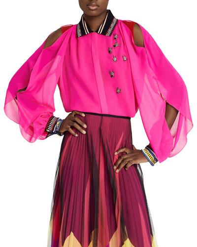 Bug-Embellished Silk Cold-Shoulder Button-Front Blouse