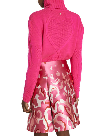 Cashmere Pierced-Heart Knit Turtleneck Sweater