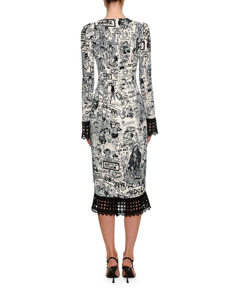Long-Sleeve Graffiti Print Cady Dress