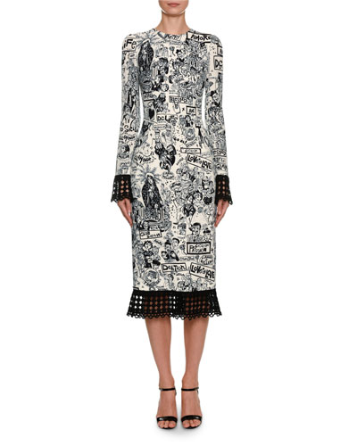 Long-Sleeve Graffiti Print Cady Dress Quick Look. Dolce   Gabbana 519dcee0b