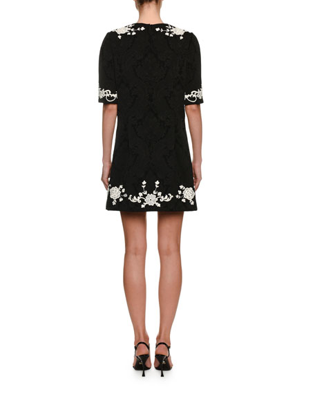 1/2-Sleeve Jacquard Place-Lace Mini Dress