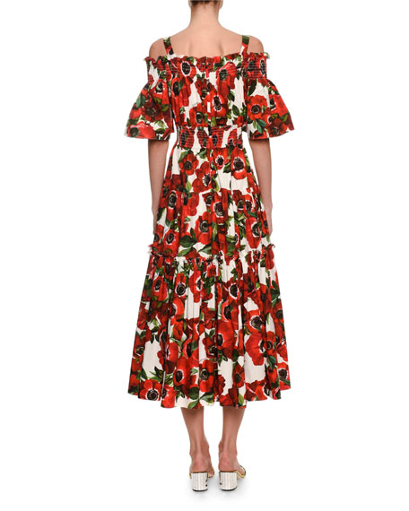 Cold-Shoulder Anemoni Print Poplin Midi Dress