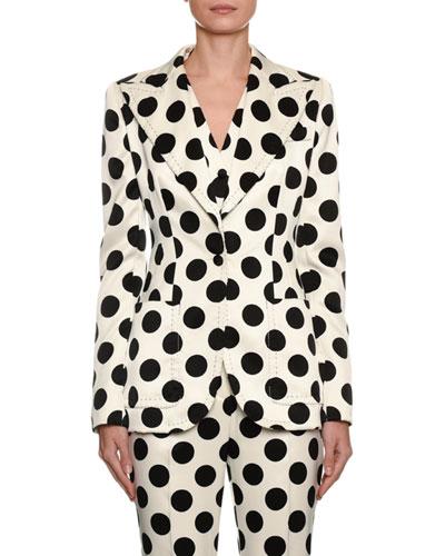 0a0f541773b Single-Breasted Polka Dot Duchesse Jacket Quick Look. Dolce & Gabbana