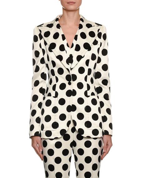 Single-Breasted Polka Dot Duchesse Jacket
