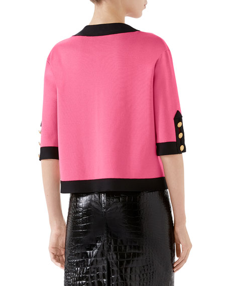 1/2-Sleeve Contrast Trim Silk Top