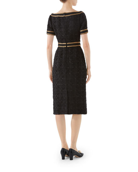 Boat-Neck Embroidered Tweed Dress