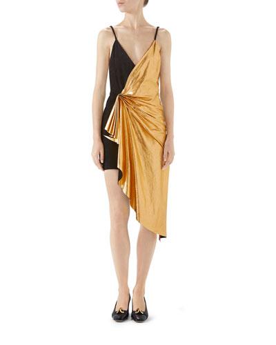 Suede and Metallic Leather Mini Dress