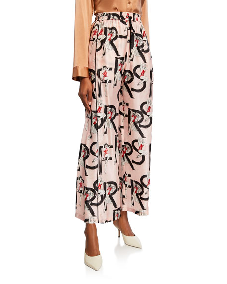 F.R.S For Restless Sleepers Pin-Up Girl Print Wide-Leg