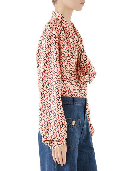Tie-Neck Diagonal Stirrup-Print Twill Shirt