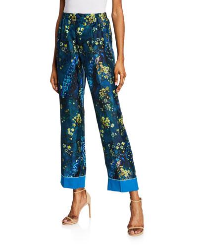 Peacock Floral Print Straight-Legs Pants