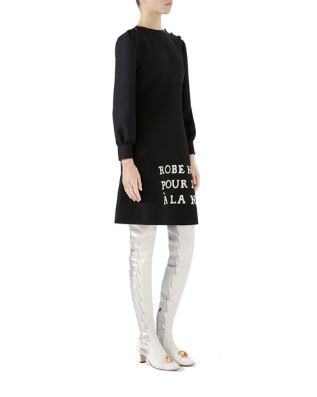 Long-Sleeve French-Embroidered A-line Dress