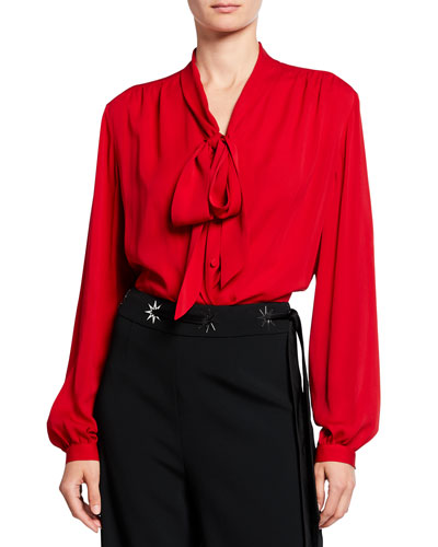 Silk Sating Georgette Tie-Neck Blouse