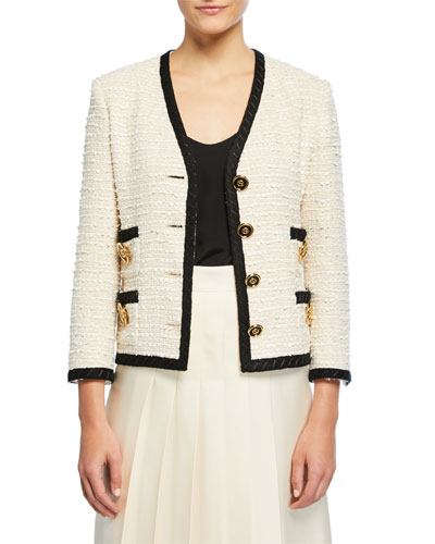 Boxy Tweed Coin-Button Jacket