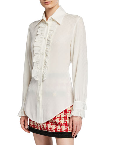 Ruffled Button-Front Silk Crepe Shirt