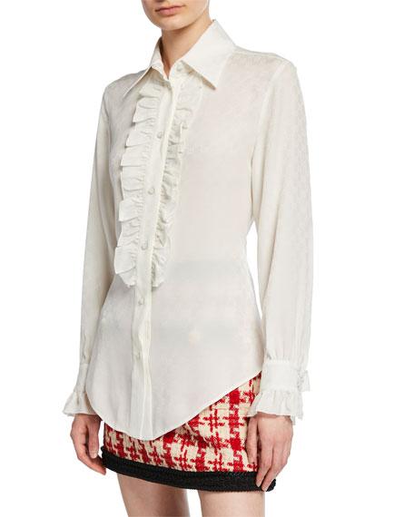 Ruffled Button-Front Silk Crepe Shirt