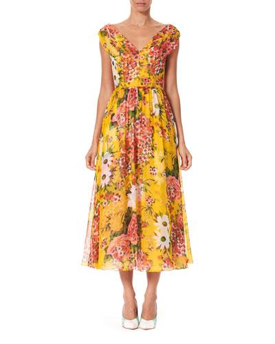 V-Neck Floral-Print Silk Midi Dress