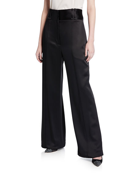 Carolina Herrera Satin High-Waist Pants