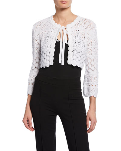 3/4-Sleeve Tie-Front Macrame Knit Cardigan with Bow