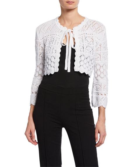 Carolina Herrera 3/4-Sleeve Tie-Front Macrame Knit Cardigan with