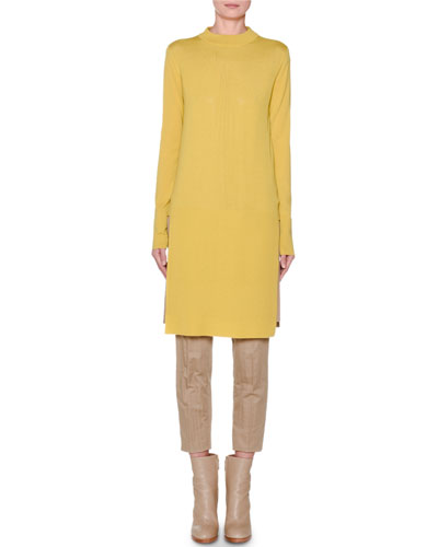 Long-Sleeve Banded High-Low Tunic  Yellow