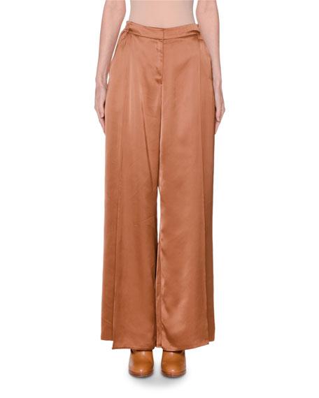 Satin Wide-Leg Pants