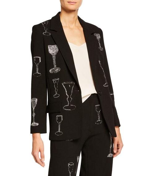 Sequined Stem Glasses Embellished Long Blazer
