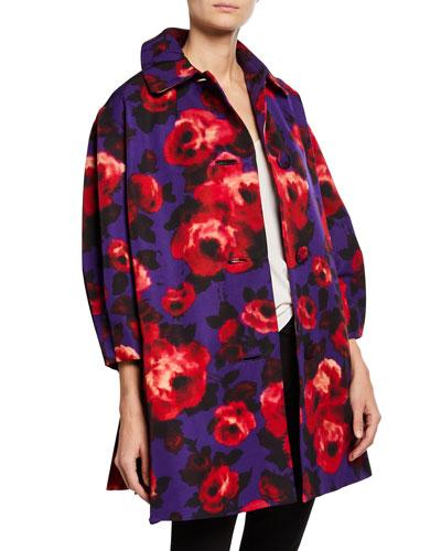 Floral Pleated Opera Coat