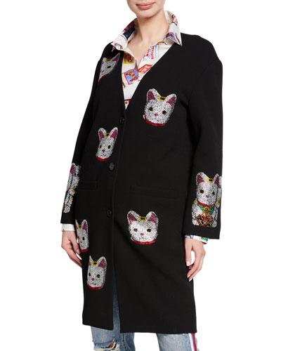 Lucky Cat Embellished Coat