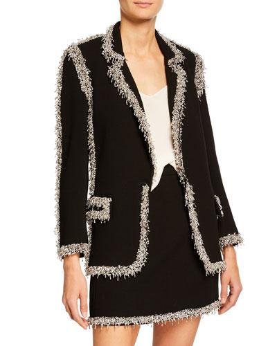 Drip-Beaded Trim Wool Blazer, Black