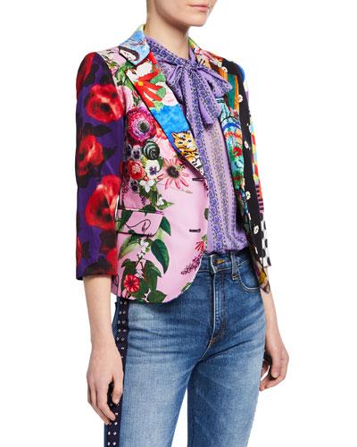 3/4-Sleeve Mixed Floral Blazer