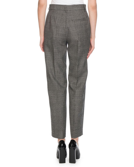 Prince of Wales Check Wool Carrot Pants