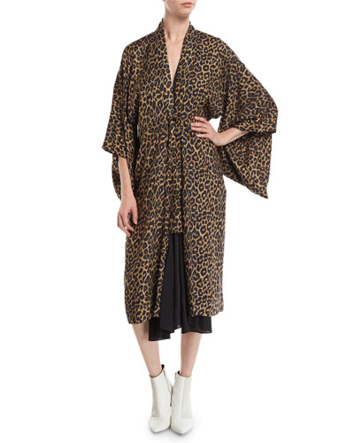 Tie-Front 3/4-Sleeve Leopard-Print Kimono Dress w/ Silk Combo