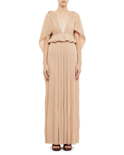 Deep V-Neck Plisse Cape-Back Gown