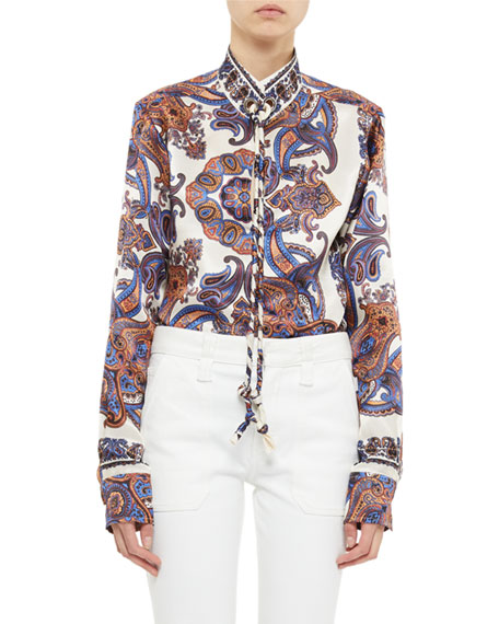 Chloe Paisley Print Long-Sleeve Tie-Neck Blouse