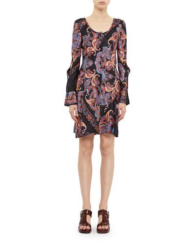 Bell-Sleeve Paisley Print Dress