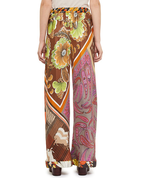 Patch-Print Silk Wide-Leg Pants