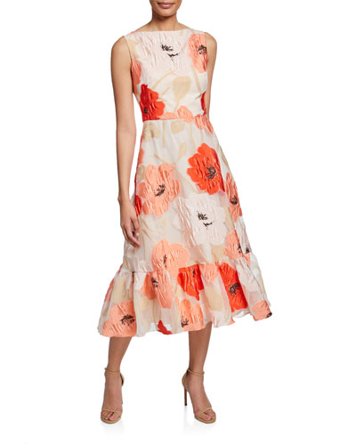 9bba4a06a2 Boat-Neck Floral Flounce Dress Quick Look. Lela Rose