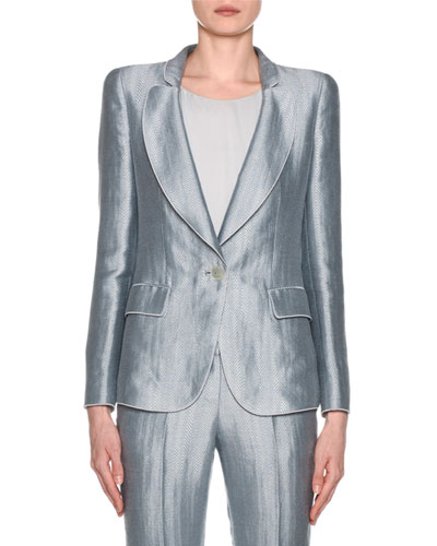 Metallic Linen Chevron Button-Front Blazer  Ice Blue