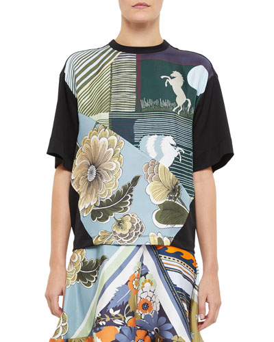 Short-Sleeve Silk-Front Jersey T-Shirt