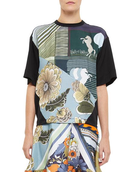 Chloe Short-Sleeve Silk-Front Jersey T-Shirt