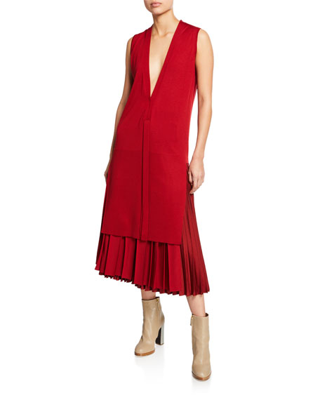 Cashmere Sleeveless V-Neck Long Tunic, Red