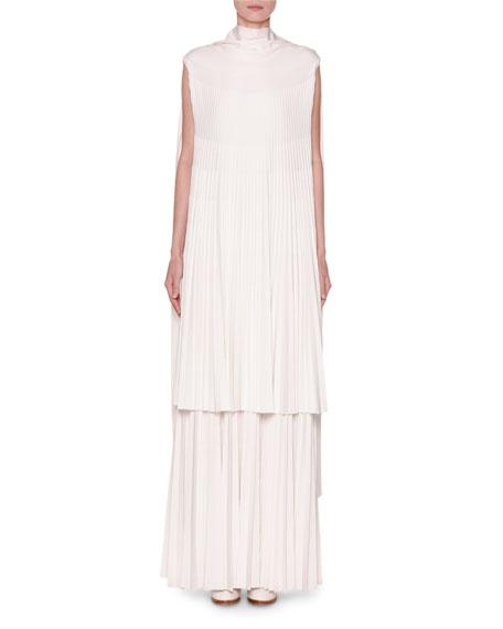 Cap-Sleeve Pleated Knit Dress