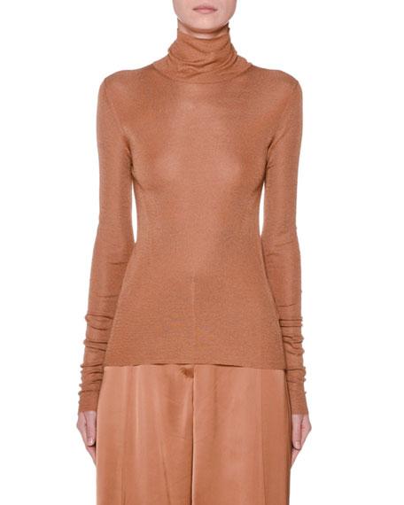 Shirred Silk Turtleneck Sweater