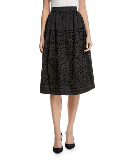 Monique Lhuillier Eyelet Taffeta Midi-Length Skirt